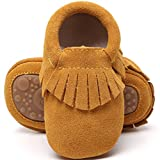 HONGTEYA Leather Baby Moccasins Hard Soled Tassel Crib Toddler Shoes for Boys and Girls (12-18 Months/5.12inch, Suede Light Brown)