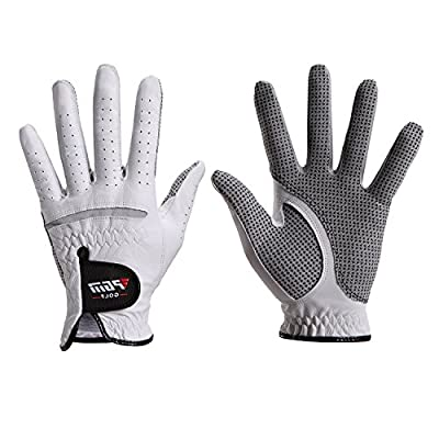 Men's Compression-Fit Stable-Grip Genuine Cabretta Leather Golf Glove, Super Soft, Flexible, Wear Resistant and Comfortable, White