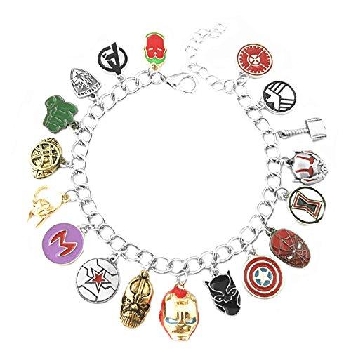 Athena Brands Avengers Charm Bracelet Quality Cosplay Jewelry Marvel Comics Movie Cartoon Series with Gift Box