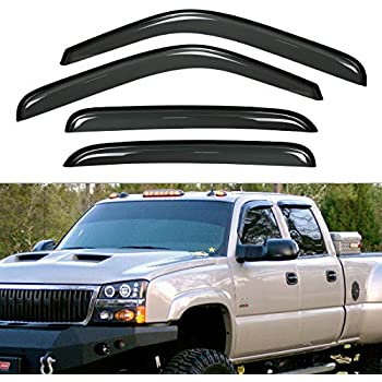 4 Pcs Set Compatible With 2017-2018 Nissan Frontier Crew Cab Tuningpros WD2-340B Outside Mount Window Visor Deflector Rain Guard Dark Smoke