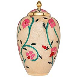 Funeral Urn by Liliane - Cremation Urn for Human Ashes - Hand Made in Brass and Hand Enameled - Display Burial Urn at Home or in Niche at Columbarium (Fleur). Fits cremated remains of adults.