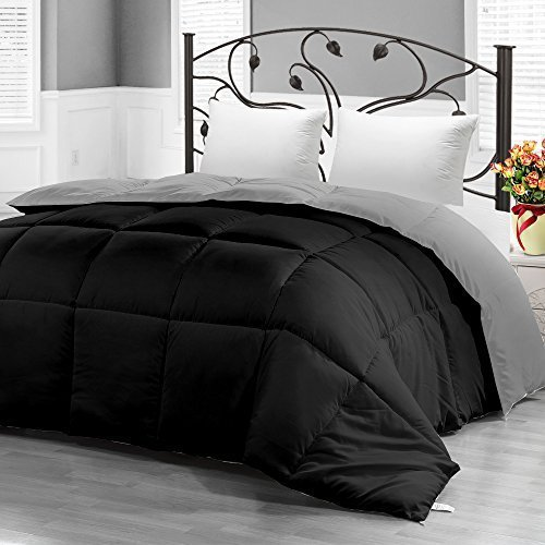 Utopia Bedding Down Alternative Reversible Comforter All Season Duvet Comforter, Queen, Black/Grey