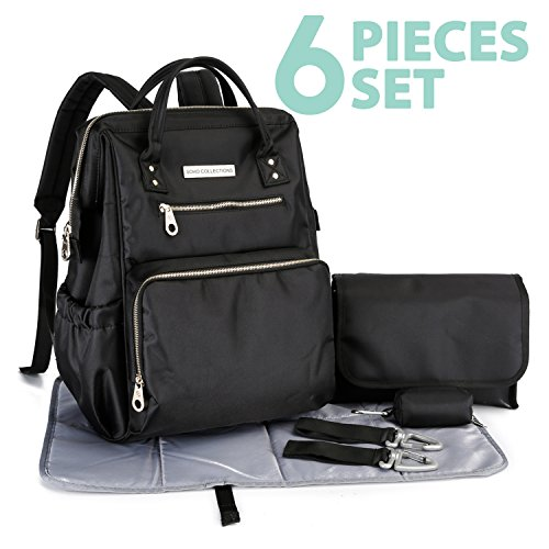 SoHo diaper bag backpack Wide Opening 6 pieces pcs nappy tote bag for baby mom dad stylish insulated unisex multifunction large capacity waterproof durable includes changing pad stroller straps Black (Soho Designs)