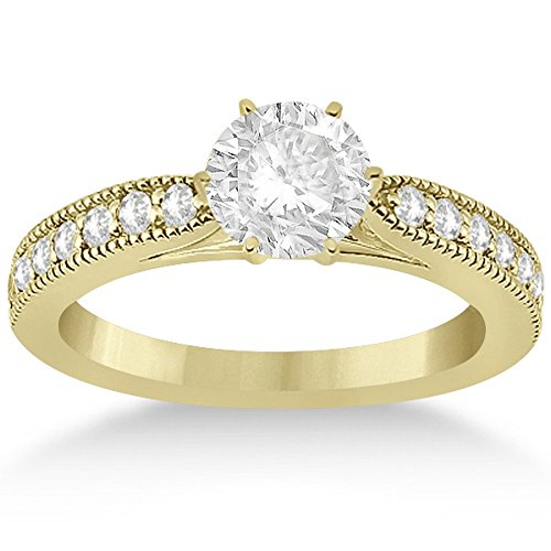(Cathedral Pave Set Antique Diamond Engagement Ring Setting in 18k Yellow Gold (0.28cts) )