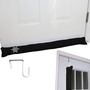 Evelots Door Draft Stopper-36 inch- with Over The Door Hook-Heat Stays in-Black