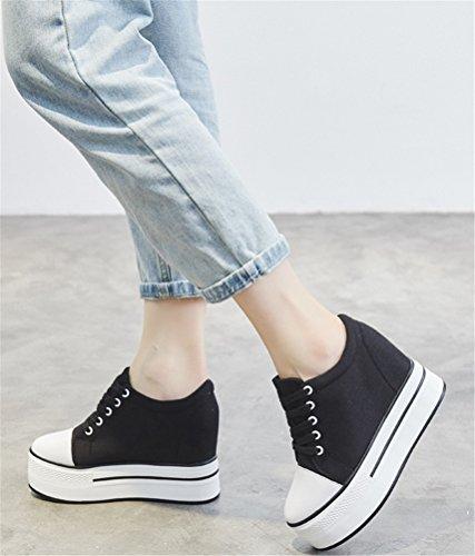 ACE SHOCK Hidden Heel Canvas Shoes Women Platform, Casual Lace-up Sneakers plimsolls 2 Colors Size 5-7 Black