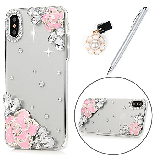 Diamond Crystal Cover Case Hard (iPhone X Case for Girls, Pink Flower Crystal Clear Case Hard PC Plastic Shell with Bling Glitter Diamonds Slim Fit Lightweight Full Edge Protective Cover & Dust Plug & Stylus KASOS - Camellia)