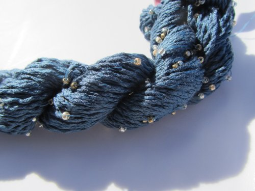 Louisa Harding Mulberry Hand Beaded Silk Yarn 13 Navy