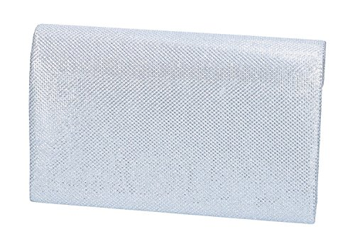 Bolso de mano mujer elegante LUCA BORSE Bolsa de noche plata N953