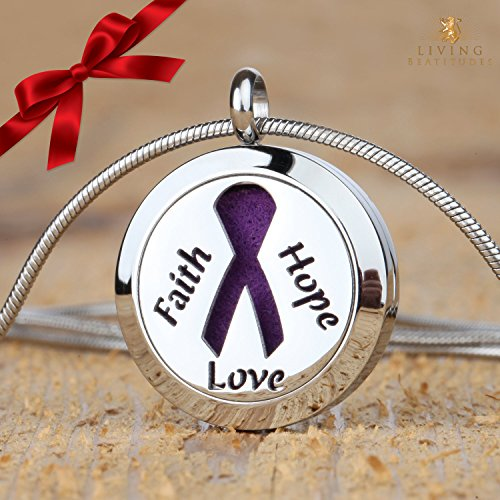 Cancer Awareness Faith Hope Love 25mm Aromatherapy Essential Oil Diffuser Necklace Locket Pendant Jewelry Gift Set with 20