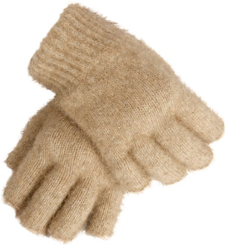 Wool Blend New Zealand - New Zealand Wool/Brushtail Possum blend Open Finger Gloves Large Mocha