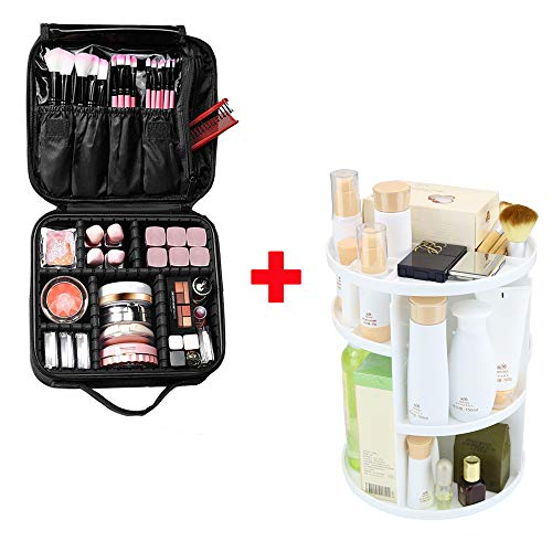 PFFY 2 PACK: 1 Pack Travel Makeup Bag + 1 Pack Rotating Makeup Organizer - One for Travel, Another one for Home