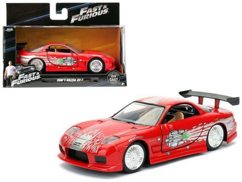 Red 7 Mazda Rx Car - NEW 1:32 JADA TOYS COLLECTOR'S SERIES FAST & FURIOUS - RED DOM'S MAZDA RX-7 Diecast Model Car By Jada Toys