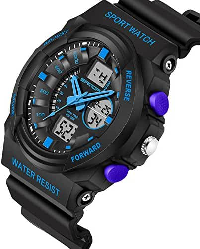 Kids Watch Waterproof Outdoor Sports Dual Dial LED Back Light Alarm Boys Watch 10 Years Black+Blue