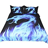 Rose Auroma 3D Blue Dragon with Flame Bedding Set Duvet Cover Dragon Bedding, Dragon Bedspread 3 Piece Duvet Cover Sets Twin Size