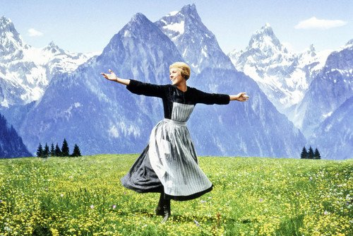 The Sound Of Music 24X36 Poster Julie Andrews dancing in Austrian hills from Silverscreen