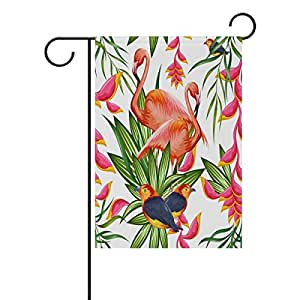 Decorative Flags for Outside Double Sided Welcome Garden Flag with Novelty Graphic Flamingo And Parrot Floral Pattern for Yard Flags Outdoor Flags