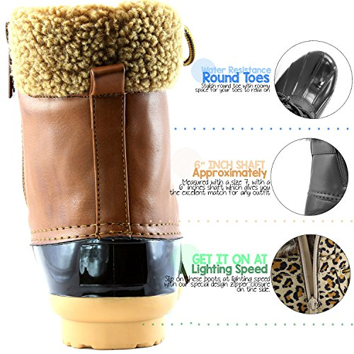 Booties DailyShoes Mud Ankle Pu Rubber Padded Boots High Tan Cashmere Warm Snow Rain up Women's Collar Duck TTqBRxfwU