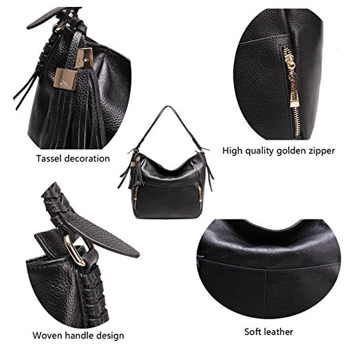 Geya Women's Fashion Genuine Leather Handbag Shoulder Handbag with Imported Soft Hot Leather (Black) by Geya (Image #5)