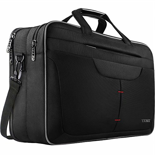 Laptop Bag, 17.3 Inch TSA Breifcase Men Women, Water Resistant Laptop Case, Durable Multi-Functional Compartment Shoulder Messenger Bags Fit 17 Inch Notebook Business Travel Office Work,Black