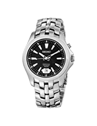 Seiko Men's SNQ101 Perpetual Calendar Solid Stainless-Steel Case and Bracelet Black Dial Watch