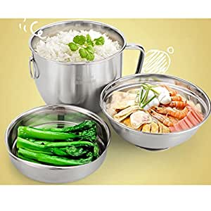 Large Capacity Stainless Steel Lunch Box Food Container. Two Layer Lunchbox with Divided Compartments Bento Lunch Box Can Warm Food On Induction Cooker (stainless-steel)