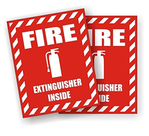 2-Pcs Professional Popular Fire Extinguisher Inside Car Stickers Emergency Permit Industrial Emblem Windows Safety Size 3-3/4