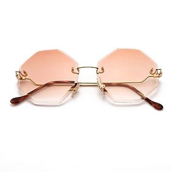 Yuanz Retro sin Montura Gafas de Sol de Las Mujeres diseño ...