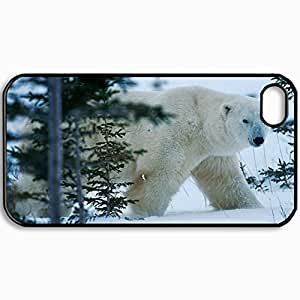 Customized Cellphone Case Back Cover For iPhone 4 4S, Protective Hardshell Case Personalized Bear North Winter Snow Forest Black