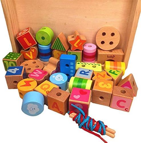 知育おもちゃ ビーズストリンギング幼児のための教育弦の張り玩具、大きな木製の文字と子供のための数ブロック30個大レーシングビーズセット 幼児教育の知的おもちゃ (色 : マルチカラー, サイズ : 21x27x4cm)