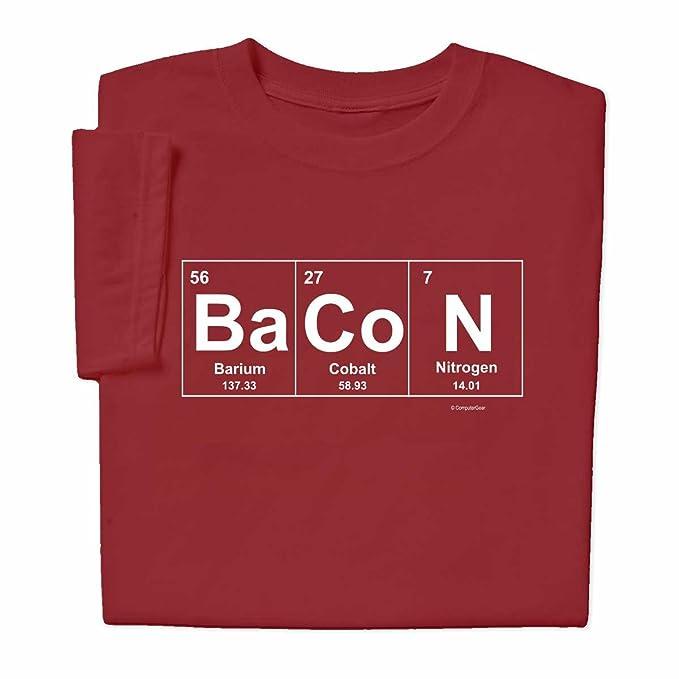 ComputerGear Bacon elementos química camiseta - Rojo -: Amazon.es: Ropa y accesorios