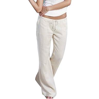 bc8b15b7172 kunfang Femme Casual Pantalon Couleur Unie Taille élastique Cordon Pantalon  Grande Taille Lâche Léger Longue Flare Pantalon avec Poche Blanc Kaki Noir  Gris  ...