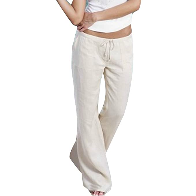 6c598e09753d35 Yying Pantaloni Sportivi Donna Pantaloni Fitness Comodi Pantaloni Bootcut  Lungo Moderno Pantaloni Casual a Vita Alta con Coulisse Pantaloni di Lino:  ...