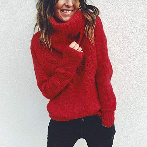 Longues Rovinci Pullover Tunique Hiver Ample Hauts Solide Automne Pull Tricot Sweater Femme À Élégant Col Roulé Rouge Chaud Manches Chic vwaZvrtq