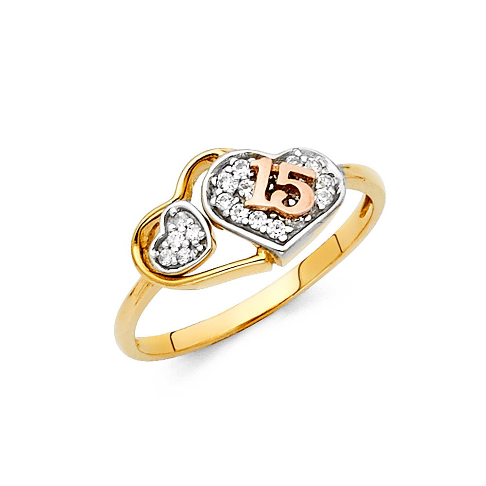 Wellingsale Ladies Solid 14k Yellow Gold Polished CZ Cubic Zirconia Pave-Set 15 Anos Quinceanera Three Hearts Design Right Hand Fashion Ring - Size 9