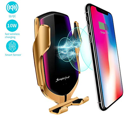 EERIE Smart Sensor Wireless Car Charger Mount, Automatic Clamping QC/QI 10W Fast Charging Car Charger Holder Compatible with iPhone Xs/Xs Max/XR/X /8, Samsung Galaxy Note 9/ S9/ S9+/ S8 etc (Gold)