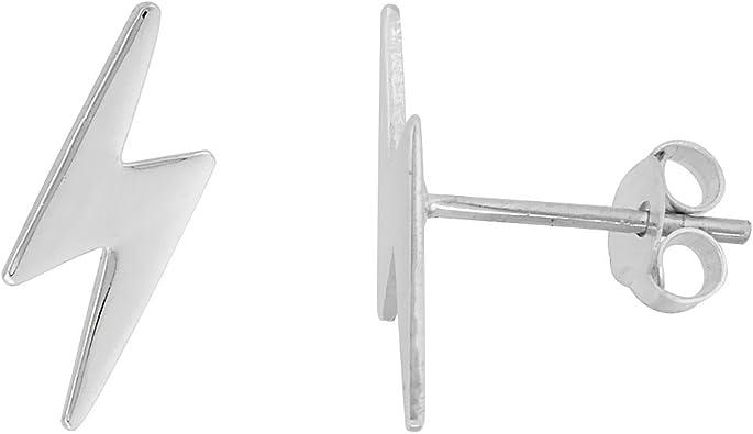 Amazon Com Tiny Sterling Silver Lightning Bolt Stud Earrings 1 2 Inch Lightening Bolt Earrings Jewelry