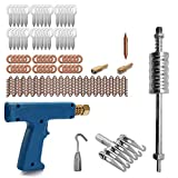 Hylotele 77pcs Stud Welder Dent Repairing Kit Pulling Claw Shrinking Welder Machine Slide Hammer Puller Straight Rull Rings Round Washers Wiggle Wires