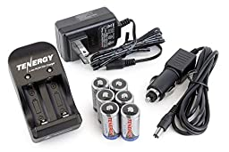 Box: Tenergy 6pcs RCR123A 3.0V 600mAh Rechargeable Li-Ion Protected Batteries w/ Smart Charger
