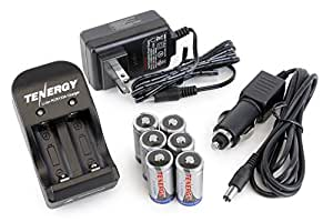 Kits: 6 RCR123A 3.2V 600mAh Li-ion Rechargeable Batteries with a Smart Charger