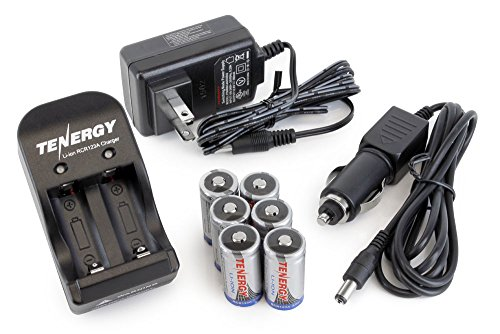 Tenergy 3V RCR123A Rechargeable Li-ion Batteries Protected 6 Pcs with 2 -Slot Smart Battery Charger