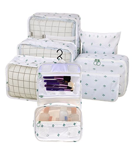 Vercord 7 Set Assorted Packing Organizers, Travel Luggage Mesh Packing Cubes & Underwears Packing Cube & Cosmetics Case & Shoes Makeup Bags, Cactus by Vercord