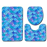 Sunshinehomely 3pcs Non-Slip Fish Scale Toilet Seat Cover and Rug Bathroom Mats Carpet Doormats Decor (D)