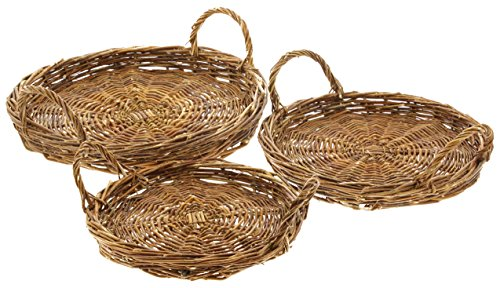 Park Hill Set of 3 Round Wicker Basket Trays, 10