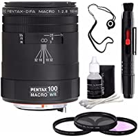 Pentax smc Pentax-D FA 100mm f/2.8 WR Macro Lens + 3 Piece Filter Kit + Deluxe 3pc Lens Cleaning Kit + Lens Pen Cleaner + Lens Cap Keeper 6AVE Bundle