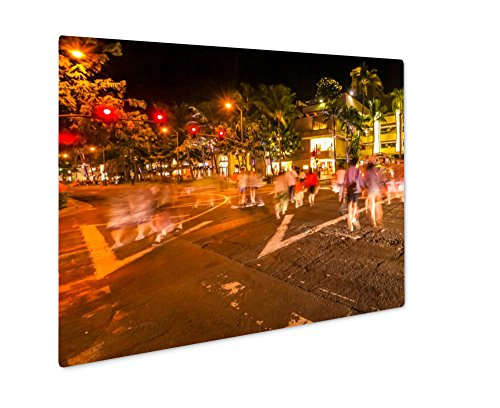 Ashley Giclee Metal Panel Print, Waikiki People Shopping, Wall Art Decor, Floating Frame, Ready to Hang 16x20, - Honolulu Shopping In Hi