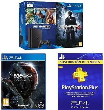 PlayStation 4 Slim (PS4) 1TB - Consola + Uncharted Collection + Uncharted 4 + Mass Effect: Andrómeda + PSN Plus Tarjeta 90 Días: Amazon.es: Videojuegos