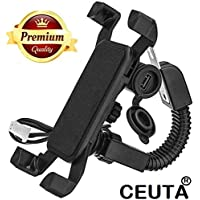 Ceuta Retails 360 Degree Rotating Mobile Charger with Holder for Bike Handle (Black)