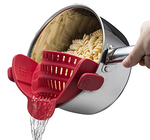Slicone Clip-on Strainer for Spaghetti,Pasta,and Ground Beef Grease,Colander and Sieve Snaps on Bowls, Pots and Pans of Kitchen Food Filter, by Lexvss【Red】