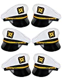4E's Novelty Adults Yacht Captain Costume Hats, for Men and Women, Great Summer Beach Sea Party Accessory, Pack of 6
